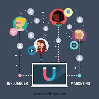Vector de influencer marketing con portátil