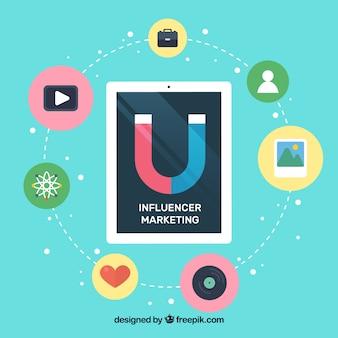 Vector de influencer marketing con tablet