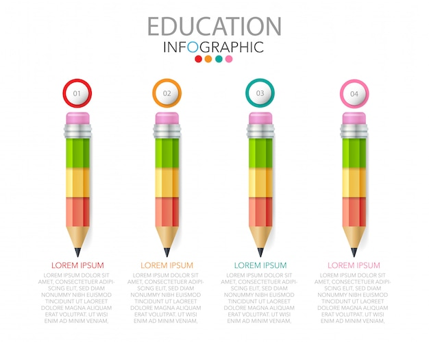 Vector de infografía educación con piezas de rompecabezas en forma de lápiz