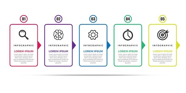 Vector infografía plantilla de diseño de línea delgada