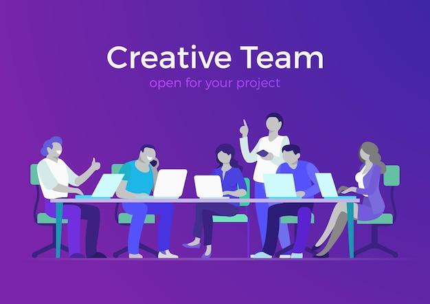Vector de infografía web de equipo creativo de estilo plano informe o presentación de la sala de reuniones de negocios
