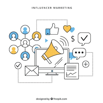 Vector infográfico de influencer marketing