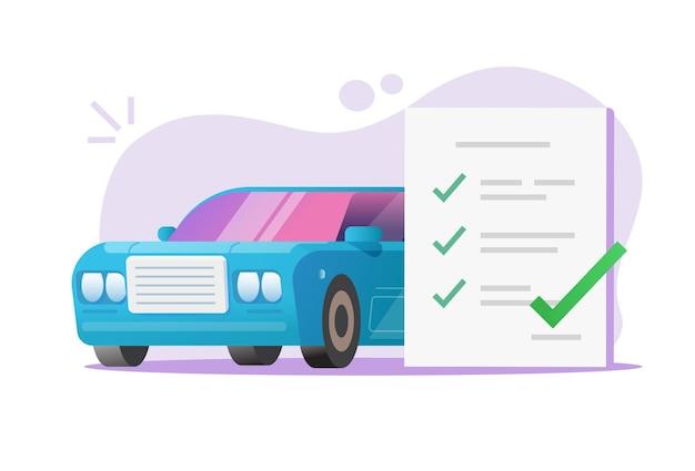 Vector de informe de revisión de lista de verificación de inspección de mantenimiento de vehículos de coche