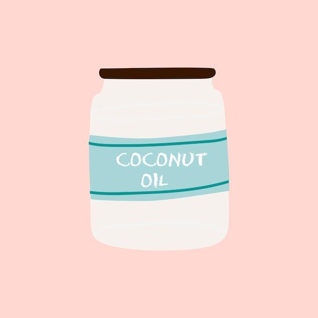 Vector de ingrediente saludable de aceite de coco