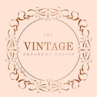 Vector de la insignia del art nouveau del oro rosado