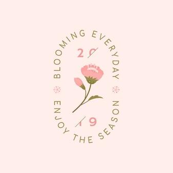 Vector de la insignia de flor de cerezo rosa