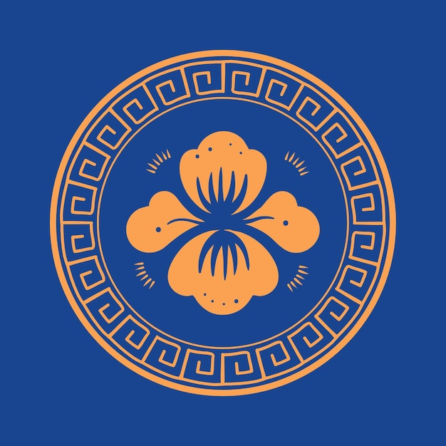 Vector de insignia de flor de peonía naranja símbolo tradicional chino