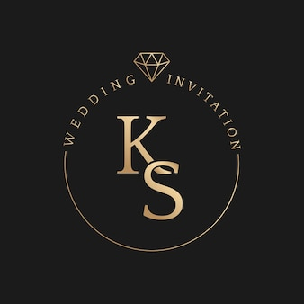 Vector de insignia de oro de invitación de boda con estilo elegante de nombres de novio y novia