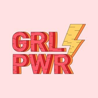 Vector de insignia de poder de niña grl pwr
