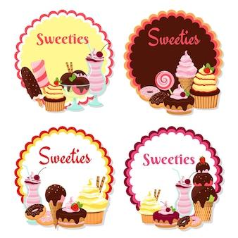 Vector de insignias dulces con helado y pasteles aislados en blanco