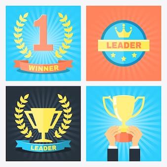 Vector insignias número uno, ganador y líder en estilo plano