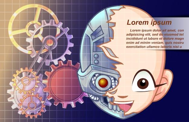 Vector de inteligencia artificial en estilo de dibujos animados.
