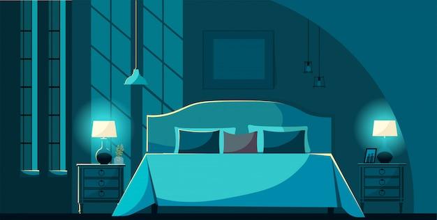 Vector interior de dormitorio por la noche con muebles, cama con muchas almohadas a la luz de la luna. mesitas de noche interiores, lámparas de iluminación y ventanas. ilustración de vector de estilo plano de dibujos animados.