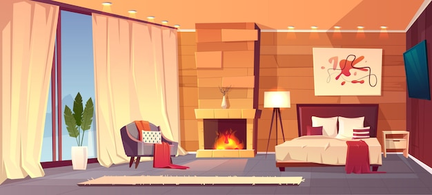 Vector el interior de la historieta del dormitorio acogedor del hotel con muebles - cama matrimonial, alfombra y chimenea. liv