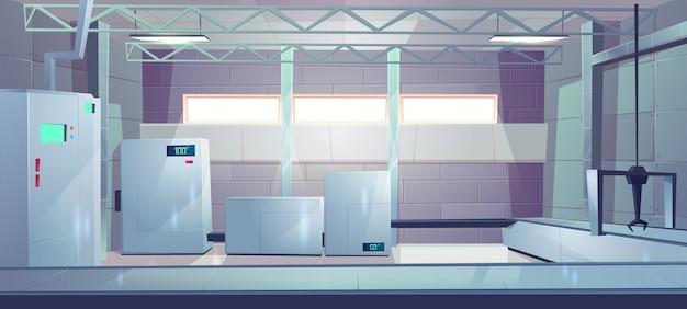 Vector interior vacío de la historieta de la fábrica o del pasillo de la producción industrial.