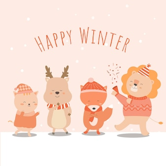 Vector de invierno final con león, zorro, gato y león