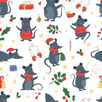 Vector de invierno de patrones sin fisuras de ratón de navidad.