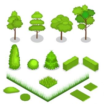 Vector isométrico árboles 3d ilustración