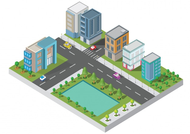 Vector isométrico del edificio de la ciudad. la ciudad en la yarda con el camino y los árboles. puente sobre el río. ciudad inteligente y parque público. edificio 3d, coches, capital, oficina del vector y concepto de la metrópoli.