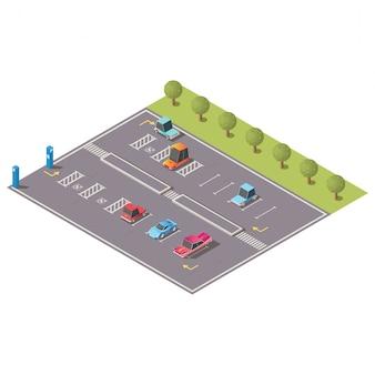 Vector isométrico de estacionamiento con espacios para discapacitados