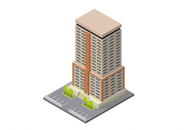 Vector isométrico hotel, apartamento, escuela o edificio de rascacielos