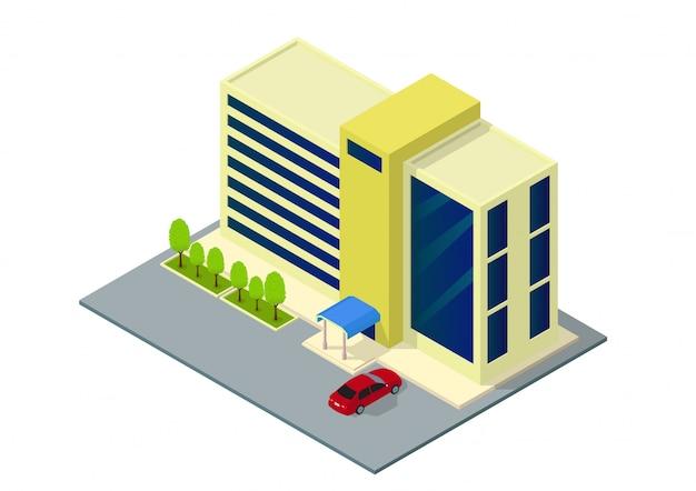 Vector isométrico hotel, apartamento o edificio de rascacielos