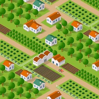 Vector isométrico naturaleza rural