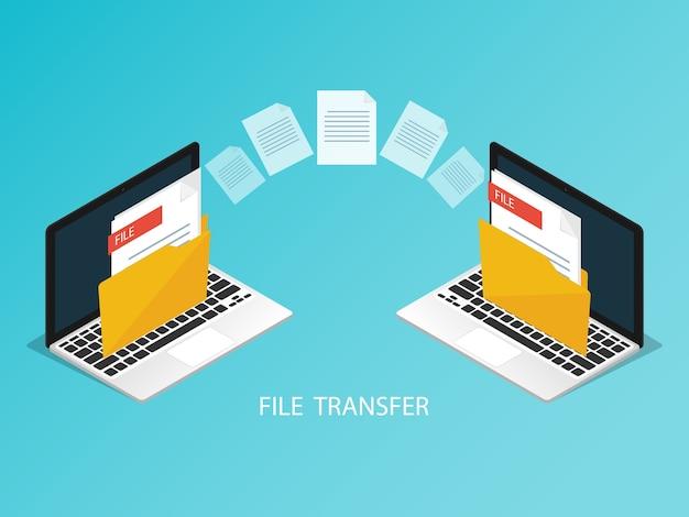 Vector isométrico de transferencia de archivos de portátil