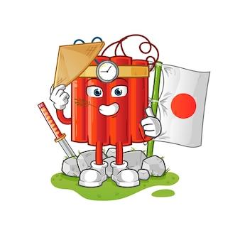 Vector japonés de dinamita. personaje animado
