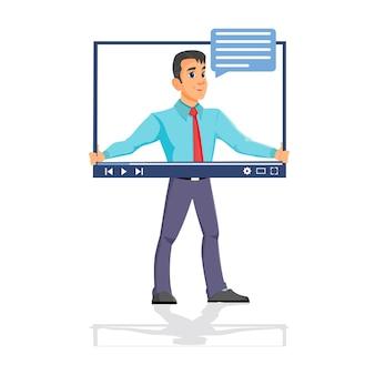 Vector joven sostiene una pantalla y habla en video de internet