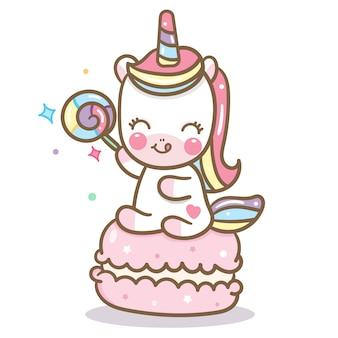Vector de kawaii unicornio con macaron y dulces