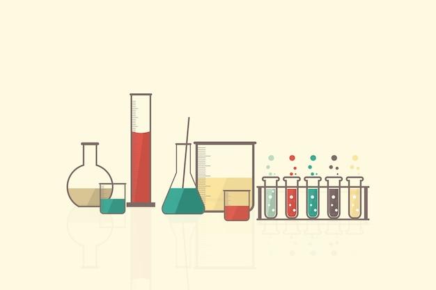 Vector de laboratorio de ciencia establece cristalería