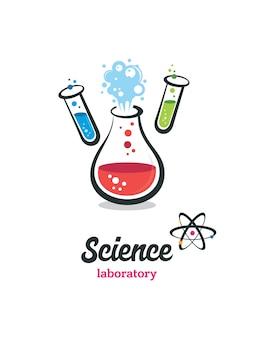 Vector de laboratorio, químico, prueba médica logo.