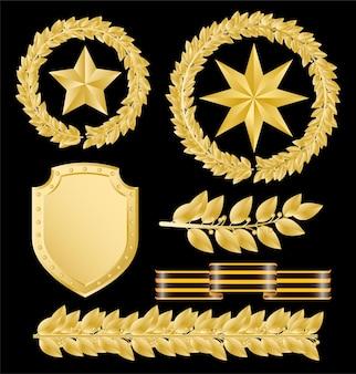 Vector de laureles de oro con estrellas doradas sobre un negro