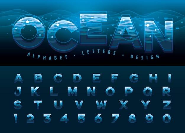 Vector de letras del alfabeto y números, líneas modernas de ondulación del agua