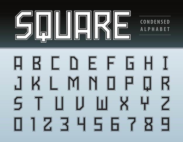 Vector de letras y números de alfabeto moderno cuadrado, tecnología de fuente geométrica