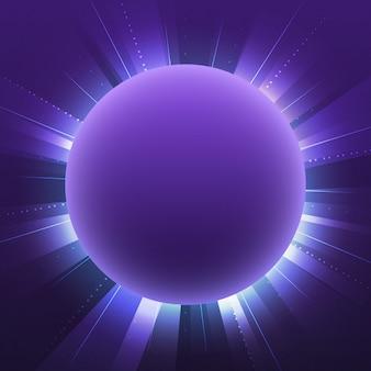 Vector de letrero de neón círculo violeta en blanco