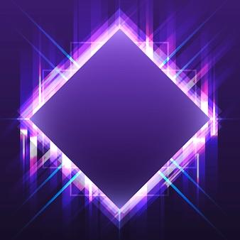 Vector de letrero de neón cuadrado violeta en blanco