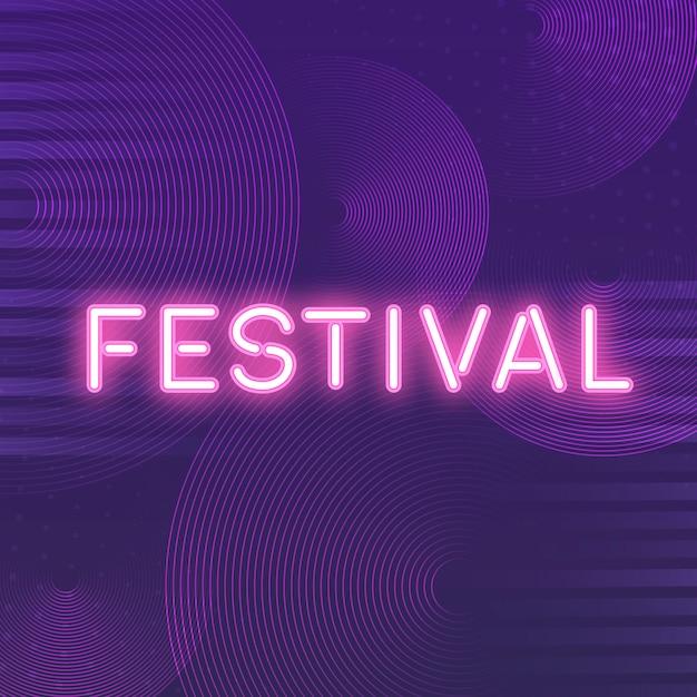 Vector de letrero de neón festival rosa