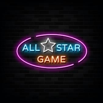 Vector de letreros de neón de juego de estrellas. plantilla de diseño estilo neón