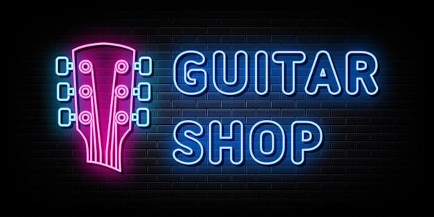 Vector de letreros de neón del logotipo de la tienda de guitarra