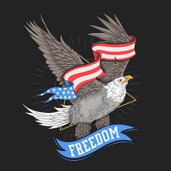 Vector de libertad de águila de estados unidos
