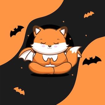 Vector libre de zorro lindo con halloween