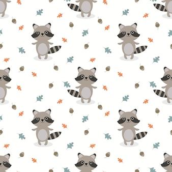 Vector lindo bebé mapache de patrones sin fisuras