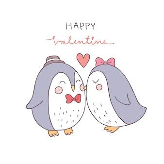 Vector lindo del beso del pingüino de los pares del día de tarjetas del día de san valentín de la historieta.