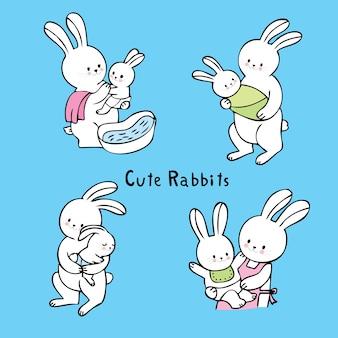 Vector lindo del conejo blanco de la mamá y del bebé de la historieta.