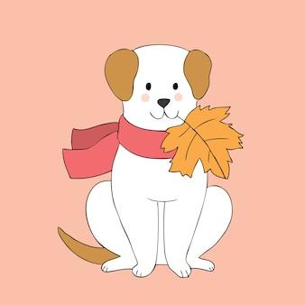 Vector lindo del perro y de las hojas del otoño de la historieta.