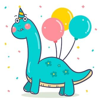 Vector lindo del dinosaurio para el globo del feliz cumpleaños