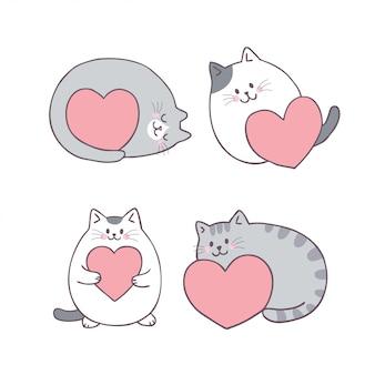 Vector lindo del gato y del amor del día de tarjetas del día de san valentín de la historieta.
