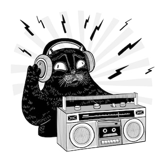 Vector lindo gato negro con auriculares y grabadora música doodle dibujado a mano ilustración